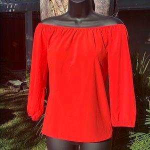 Agaci Red Off Shoulder Full Sleeves Top